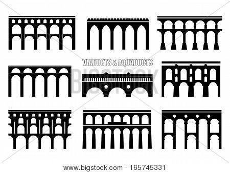 Set of bridge silhouettes. Viaducts aqueducts rail and multilevel arched bridges. Concept for logo icon.