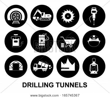 Set of round black and white vector icons: drilling tunnels in mining industry.