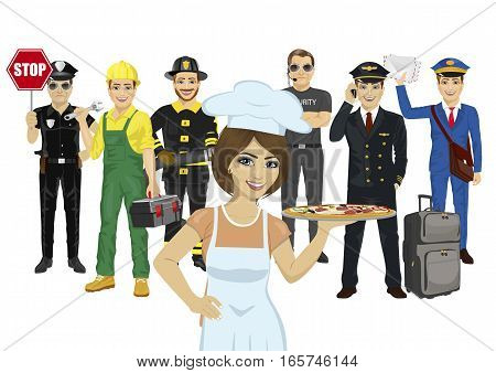 Set of diverse people isolated on white background. Various professions. Policeman, chef, repairman, fireman, bodyguard, pilot, courier