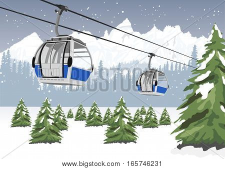 blue cable car lift at ski resort in the winter in front of majestic mountains