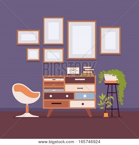 Retro interior original mid-century modern living-room, chair, potted plants, wall frames for copyspace and mock up. Hotel accommodation or home cozy living space. Interior illustration