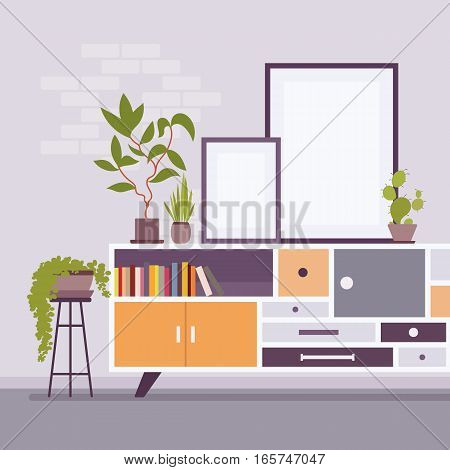 Retro interior original mid-century modern room with potted plants, record console, books, two frames for copyspace and mock up. Hotel accommodation or home living space. Interior illustration