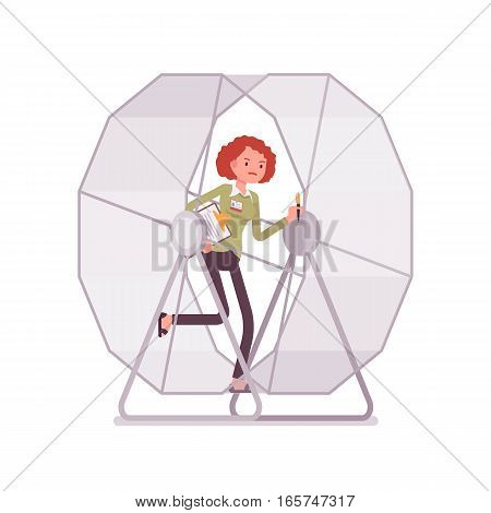 Frustrated businesswoman in a runnig wheel , adrenaline is pumping, repetitive purposeless task, spending a lot of energy but never getting ahead, cannot leave secure employment and start own business