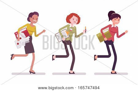 Exhausted young businesswoman running for personal business record, results seaking, busy organizing a meeting or event, holding paper and files, office secretary and multitasker