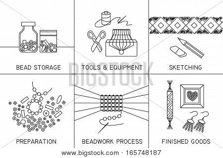 Set of six thin line square vector icons on the theme of beadwork jewelry work handicraft bead weaving hobby.