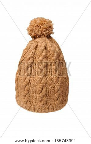 winter soft warm beige knitted hat with braids patterns handmade isolated