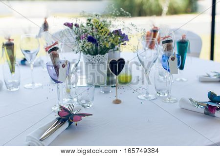 Beautifully served and designed white wedding table