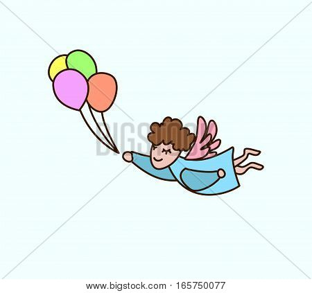 Vector flying cartoon angel with balloons in hand. Greeting invitation card for saint Valentine day wedding day