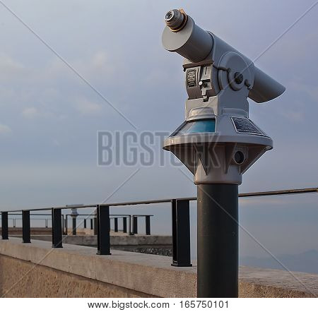 Panoramic telescope on the observation deck close-up.