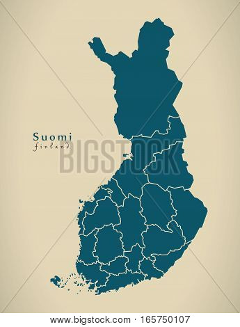 Modern Map - Finland With Federal States Fi Illustration