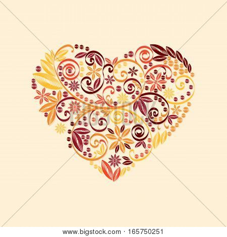 Stock vector illustration isolated heart decor red, orange, yellow quilling patterns on beige background for greetings cards, printed materials, design element, Happy Valentines Day
