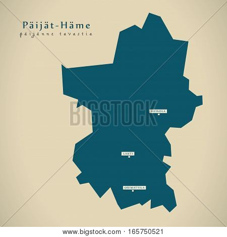 Modern Map - Paijat Hame Finland Fi Illustration