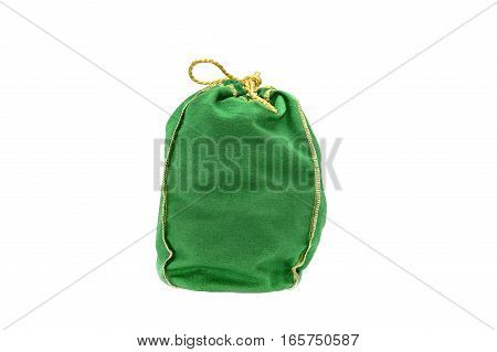 closed green sack isolated on white background.
