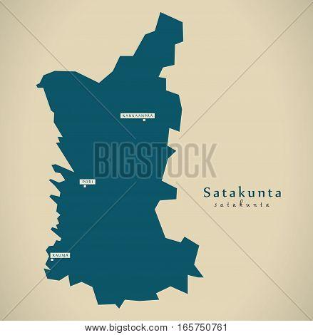 Modern Map - Satakunta Finland Fi Illustration