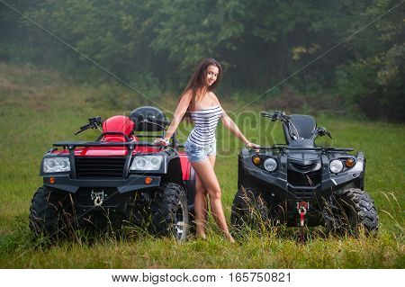 Beautiful Girl With Four-wheeler Atv