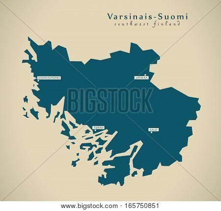 Modern Map - Southwest Finland Fi Illustration