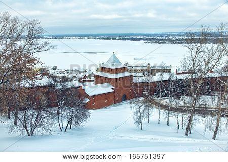 The Nizhny Novgorod Kremlin is a fortress in the historic city center of Nizhny Novgorod in Russia in winter time