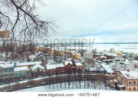 RUSSIA NIZHNY NOVGOROD January 18 2016: Beautiful panoramic view in winter time near Kremlin. Away the connection of the rivers Volga and Oka