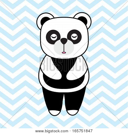 Baby Shower card with cute panda on chevron background suitable for baby shower greeting card, baby nursery wall, and wallpaper