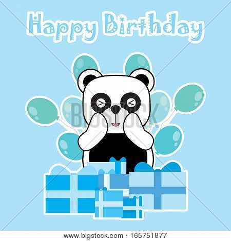 Birthday card with cute panda and birthday gift suitable for birthday greeting card, invitation card, and postcard