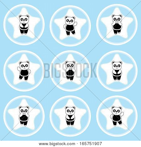 Birthday cupcake topper with cute panda on star frames suitable for birthday cupcake topper, sticker set, and clip art