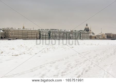 Winter historical center of St. Petersburg. Types of quays of St. Petersburg with winter Neva River.