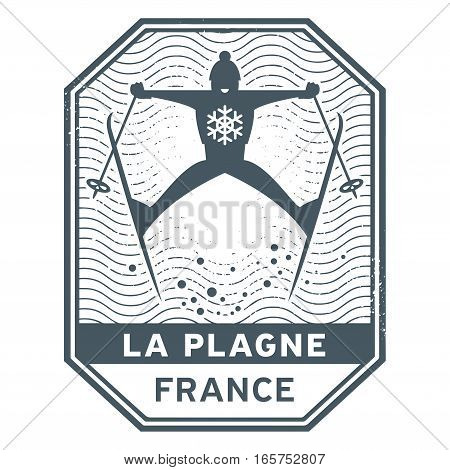 Abstract stamp or emblem with the name of town La Plagne in France vector illustration