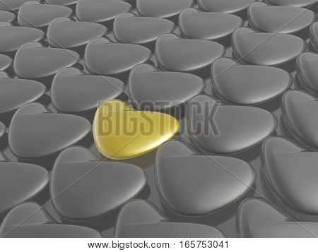 Yellow and grey hearts as abstract background 3D illustration.