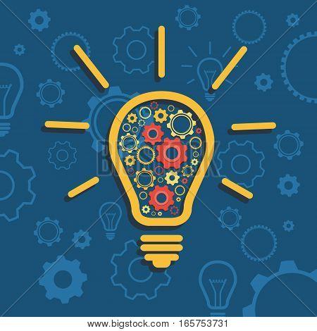 Flat design vector illustration shows generation of idea
