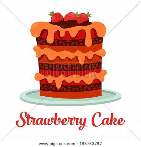 Strawberry cake standing on plate. Sweet dessert food with cream and icing, berry on top. Chocolate pastry and bakery cook for wedding and holiday greeting, celebration event
