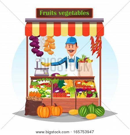 Market stall with salesman trading fruits and vegetables. Counter, bazar stand with carrot and red chili pepper, shallot onion and garlic, peas and cabbage, banana and scales. Grocery retail theme poster