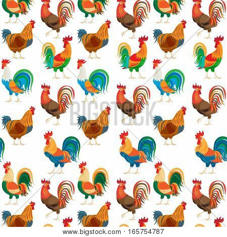Roosters seamless pattern. Chickens farm cockerel colorful vector illustration