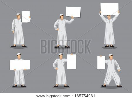 Set of six vector illustration of cartoon character of muslim man in traditional white robe costume and skullcap holding blank placard with copy space isolated on grey background.