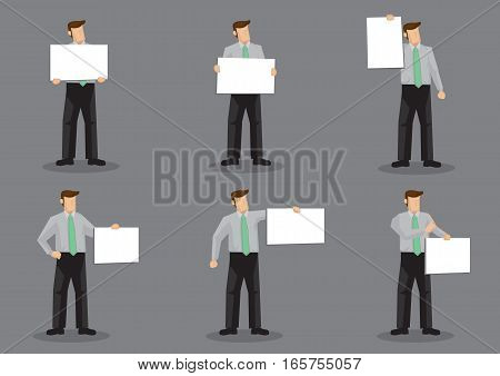 Set of six vector illustrations of cartoon business profession character holding blank placard signs with copy space isolated on grey background.