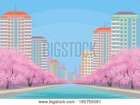 Beautiful spring city landscape with the blossoming Oriental cherry and skyscrapers. Vector background.