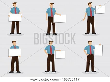 Set of six vector cartoon character illustrations of a male white-collar worker holding placard sign with copy space isolated on plain background.
