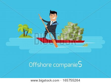Offshore companies concept vector. Flat design. Financial crime, tax evasion, money laundering, political corruption illustration. Man in business suit, in mask sailing on boat with money to tropics.