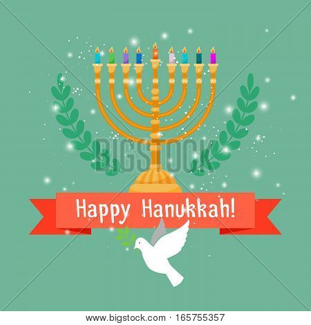 Happy hanukkah square card with menorah candles and bird. Vector illustration