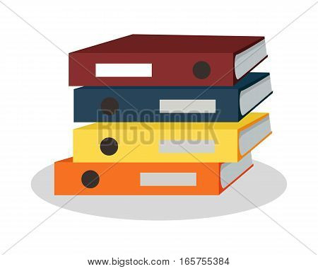 Pile of colorful binders. Large number of business documents with bookmarks. Paper work, office routine, bureaucracy concept. Flat design. Illustration for data, e-mail, management, services.