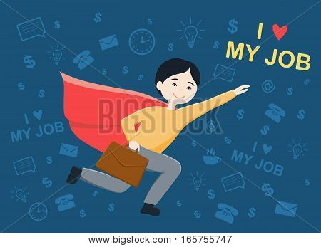 Flat design vector illustration of business man flying success, for leadership or motivation concept themes