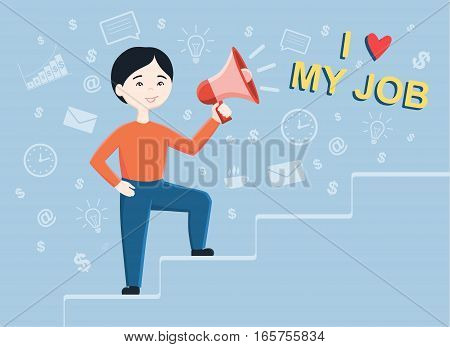 Flat design vector illustration of business man holding megaphone and going success, for leadership or motivation concept themes