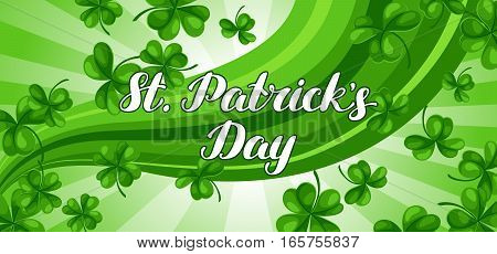 Saint Patricks Day banner. Green clover shamrock and the four-leaf.
