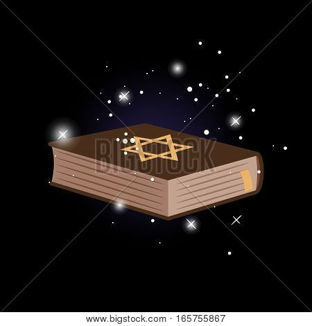 Shield of David on the book. Vector illustration, dark background