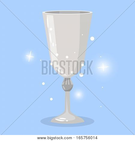 Wine goblet cartoon object for game design. Vector illustration with shining elements on blue background