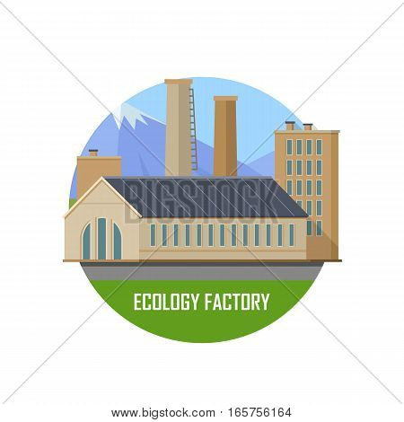 Ecology factory round icon. Factory building with pipes on nature landscape. Industrial factory building concept. Industrial plant with pipes in flat. Factory icon. Ecological production concept