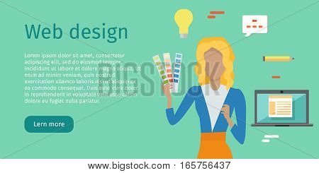 Web design conceptual web banner. Flat style. Woman character with color guide carts in hand. Building website, application interface. For web development company landing page. Internet technologies