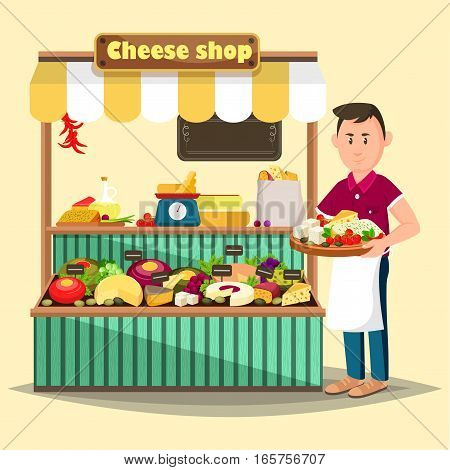 Cheese shop or store with salesman. Market counter or stall, stand or showcase with cheddar and italian or swiss, mozzarella or parmesan sliced cheese and scale or weigher. Vegetarian nutrition theme