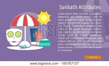 Sunbath Attributes Conceptual Banner Great flat illustration concept icon and use for healthy, beauty, fashion and much more.