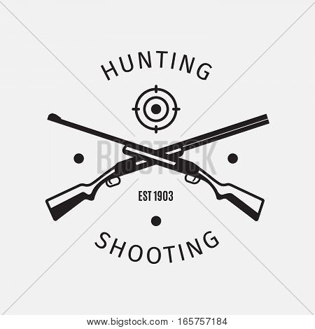Vintage style vector hunting shooting cub logo with hunting rifles