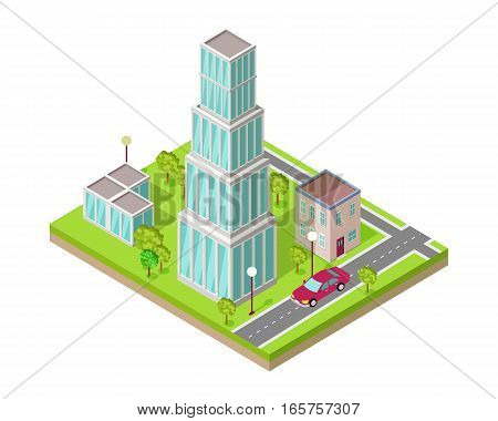 Isometric city vector web banner. Isometric projection. Horizontal illustration with fragment of street with road crossing, buildings, trees, lawn, lanterns, car. For design studio